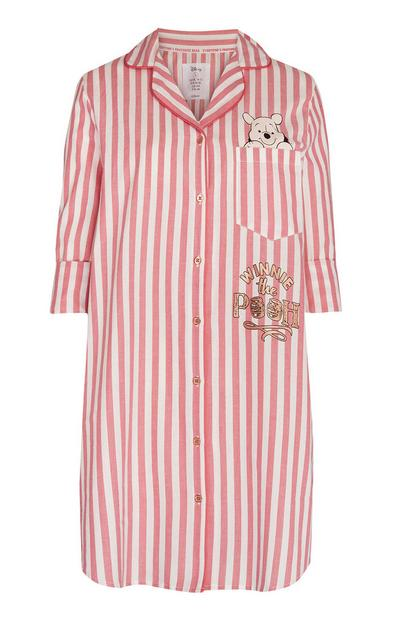 Pink And White Striped Winnie The Pooh Nightshirt