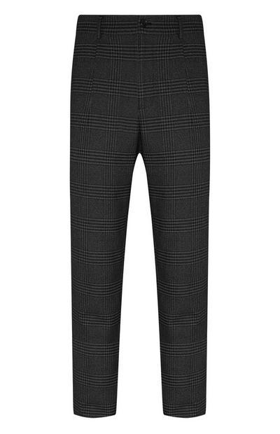 Donkergrijze geruite broek met rechte pijpen
