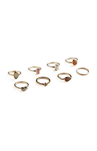 8-Pack Multi Gold Rings