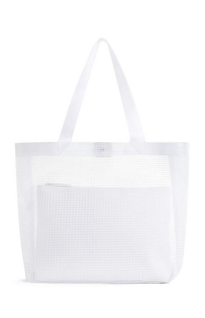White Mesh Shopper With Pouch