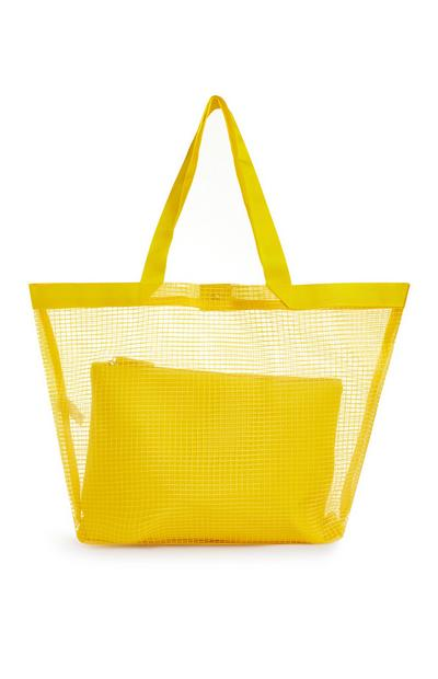 Yellow Cross Hatch Beach Bag