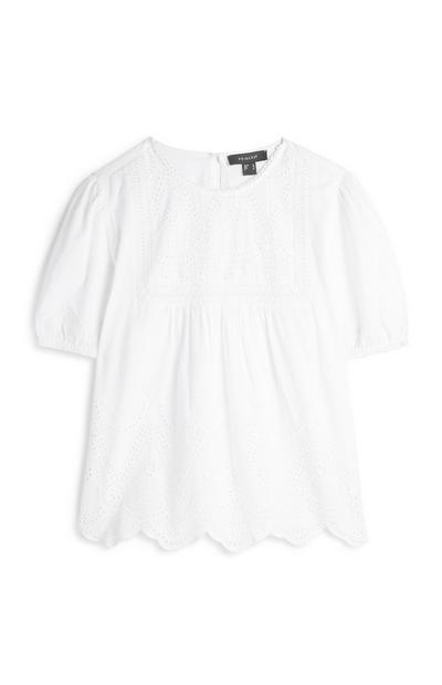 White Embroidered Hem Shirt