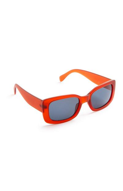 Red Frosted Rectangle Sunglasses
