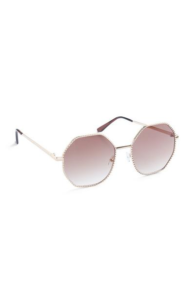 Óculos sol aro metal grandes cor-de-rosa