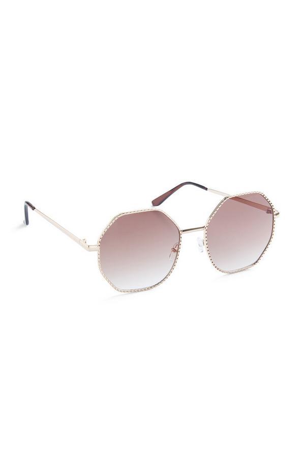 Pink Metal Rim Oversized Sunglasses
