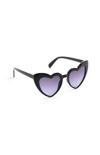 Schwarze Sonnenbrille aus Plastik mit herzförmigen Gläsern