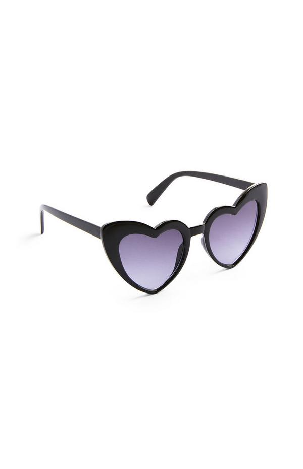 Black Plastic Heart Sunglasses