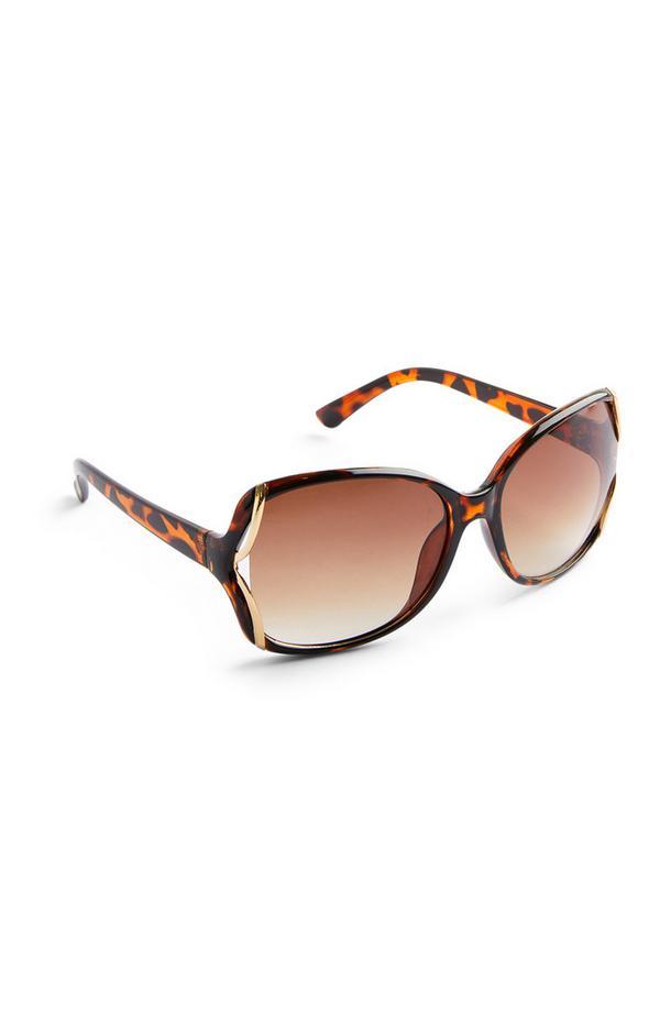Bruingemêleerde oversized zonnebril
