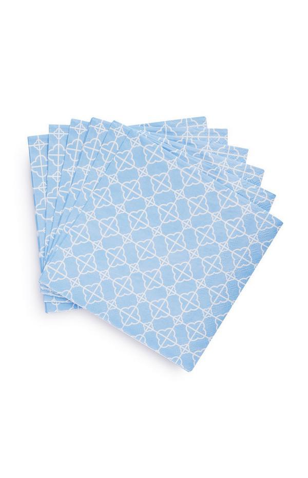 Vierkante servetten met blauw patroon