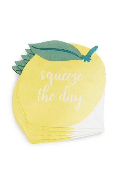 Papierserviette mit Zitronenmotiv