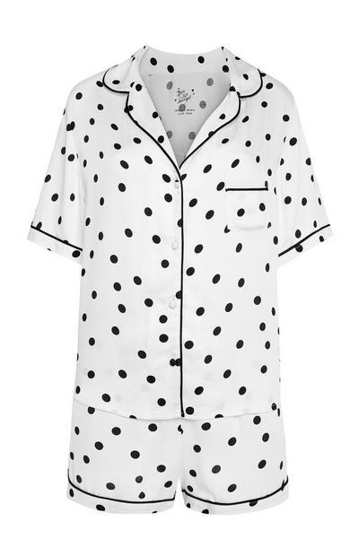 Polka Dot Buttoned PJ Shorts Set