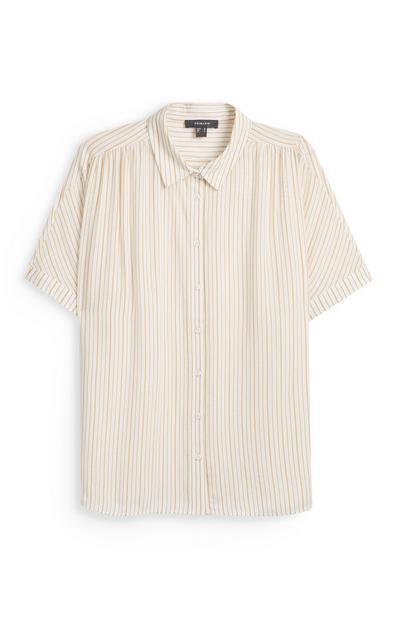 Rumena črtasta srajca s kratkimi rokavi