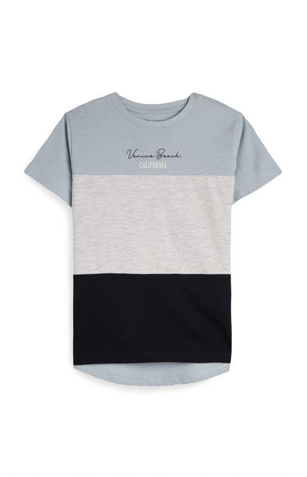 T-shirt coupé-cousu bleu garçon