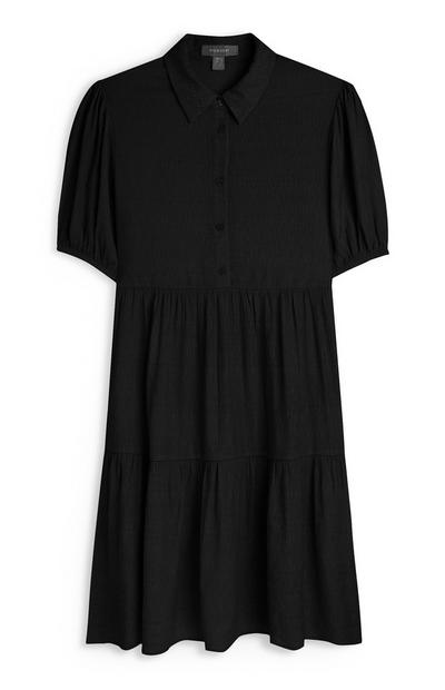Black Puff Button Up Sleeve Dress