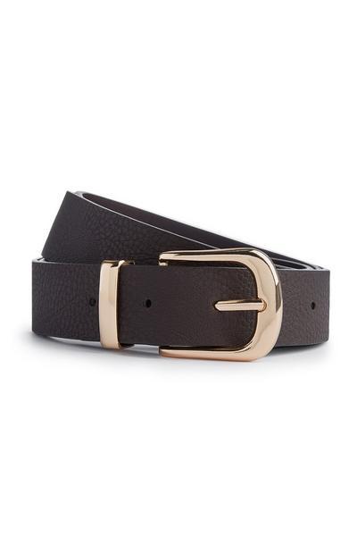 Black Faux Leather Buckle Belt