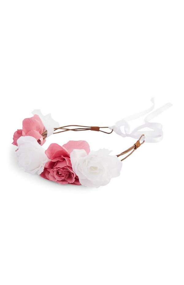 Roze-witte bruidskroon met bloemen
