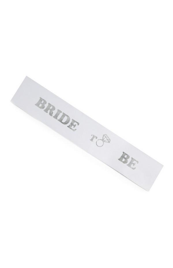"""Weiße """"Bride To Be"""" Schärpe"""