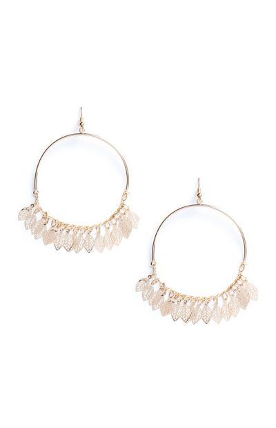 Leaf Charm Circle Drop Earrings