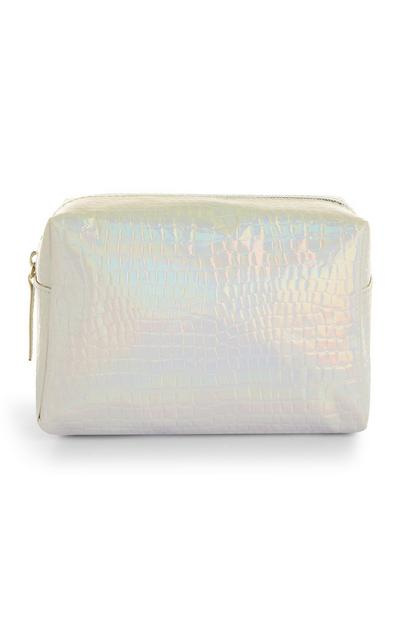 Silberfarbene Make-up-Tasche mit Hologramm-Optik