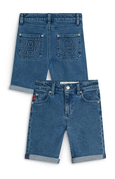 Denim short met robotprint Stacey Solomon voor jongens