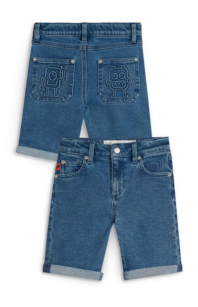 Kratke hlače iz džinsa s potiskom robota za mlajše fante Stacey Solomon