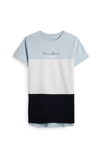 Blaues T-Shirt in Cut-and-Sew-Optik (Teeny Boys)