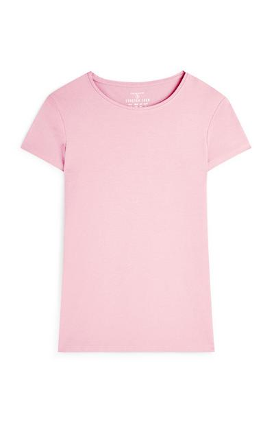 Light Pink Crew Neck Short Sleeve T-Shirt