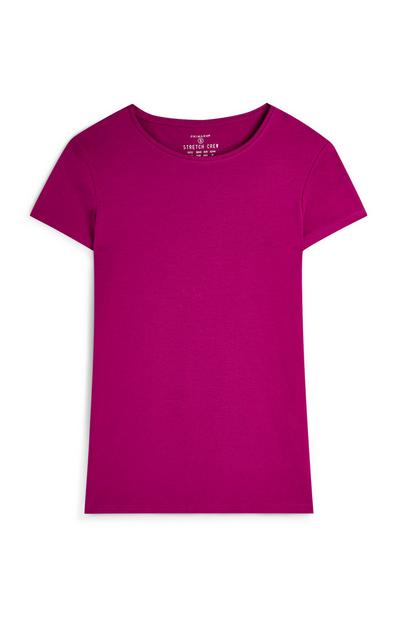 Magenta Crew Neck Short Sleeve T-Shirt