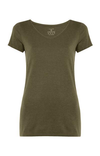 T-shirt kaki stretch à col en V
