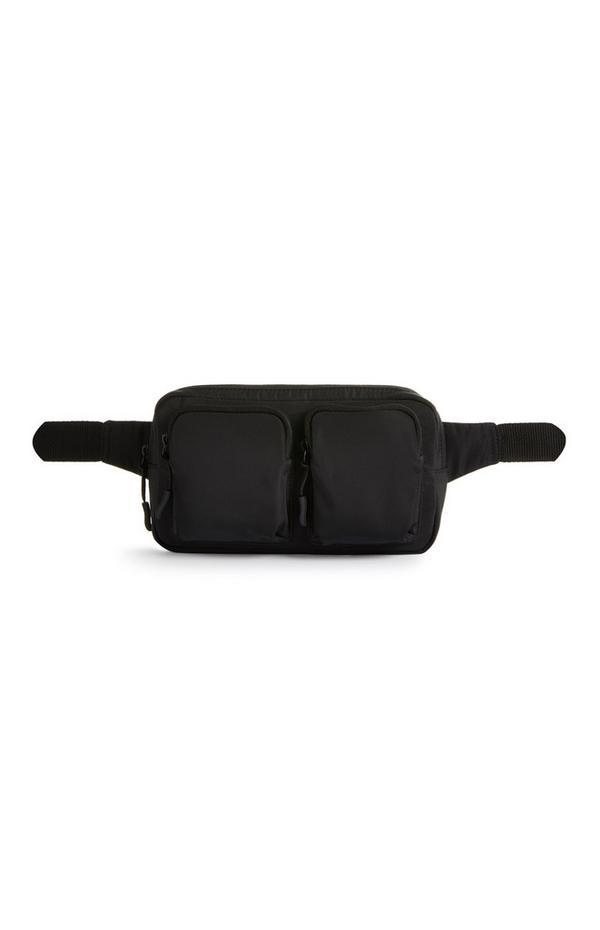 Schwarze Nylon-Gürteltasche mit zwei Taschen