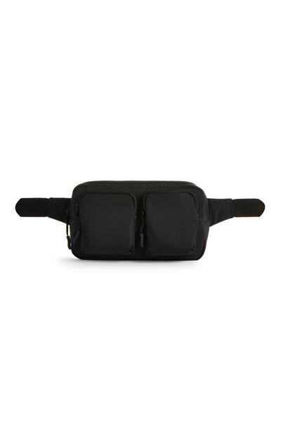 Black Double Pocket Nylon Fanny Pack