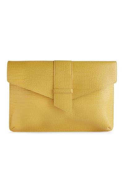 Gele clutch met krokodillenprint