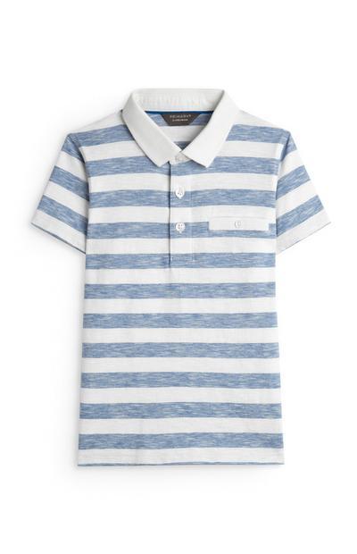 Younger Boy Blue Striped Polo Top