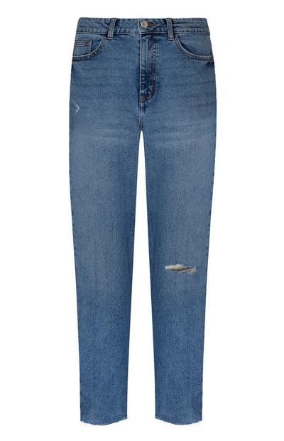 4 Buttons High Waist Ankle Grazer Jeans Bright Blue Denim Ladies Primark