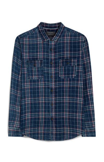 Chemise bleue à carreaux et manches longues
