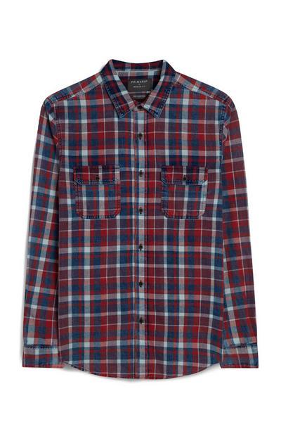Camisa manga comprida xadrez vermelho