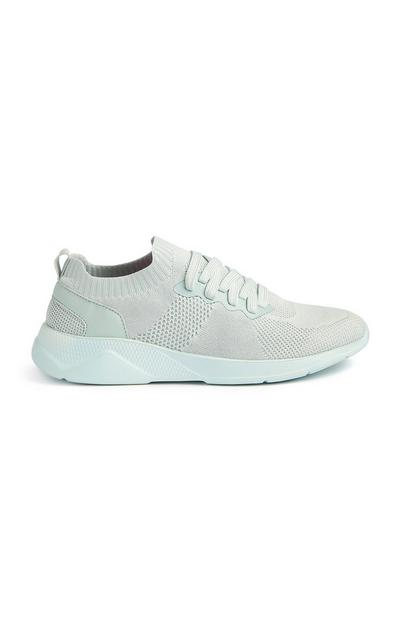 Mintgroene gebreide sneakers