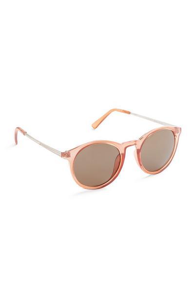 Pfirsichfarbene Sonnenbrille mit runden Gläsern