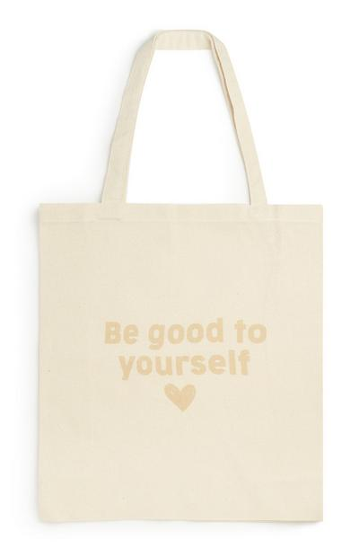 Borsa beige in tela di cotone biologico con scritta Be Good To Yourself