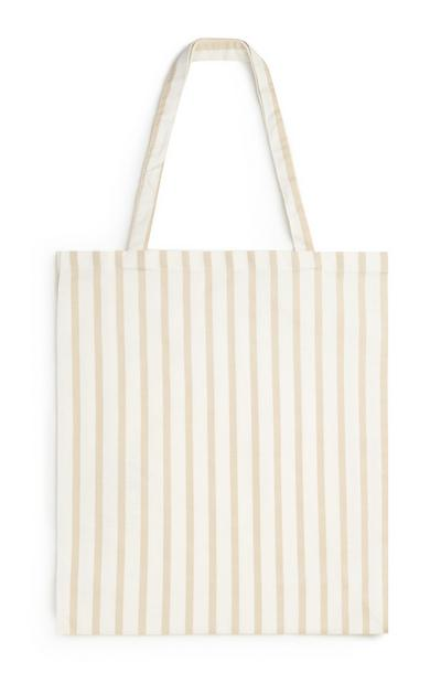 Organic Cotton Beige Stripe Canvas Bag