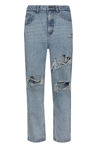 Blue Vintage Ripped Mom Jeans