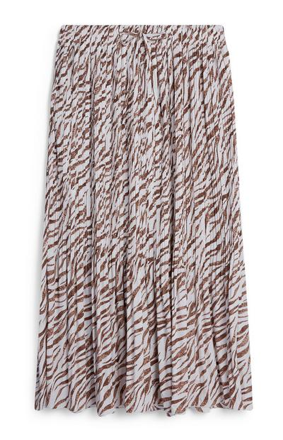 White And Brown Micro Pleated Midi Skirt