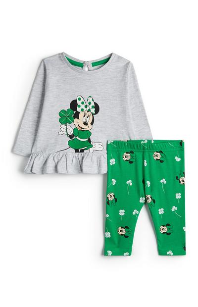 Gray Minnie Mouse St. Patrick's Day Tunic And Leggings