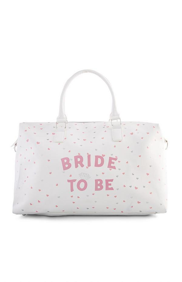 Weekendtas Bride to Be met hartjesprint