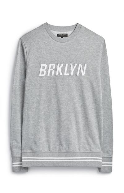 Grey Embroidered Brooklyn Crew Neck Jumper