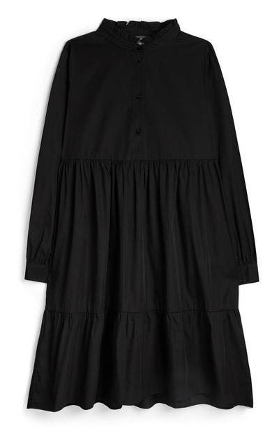 Zwarte popeline jurk met lange mouwen