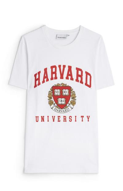 White Harvard University Emblem T-Shirt