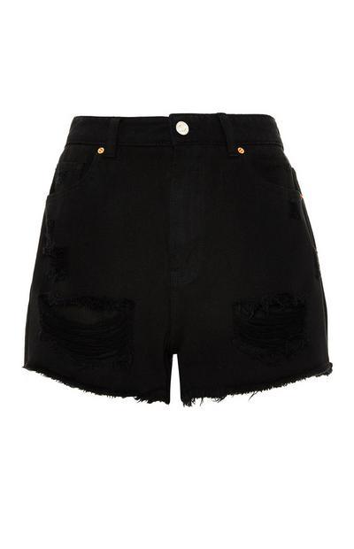 Zwarte short met scheuren