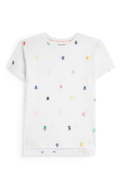 Stacey Solomon Younger Girl White Robot Print T-Shirt
