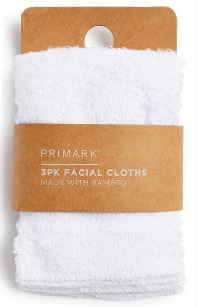 White Facial Cloths 3Pk